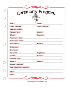 Ceremony Program wedding planners