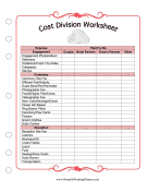 Cost Division Worksheet